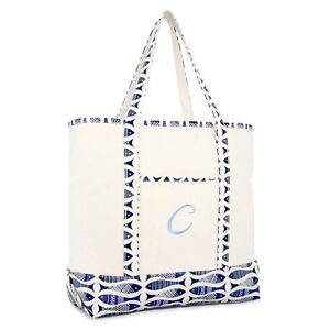 DALIX-Personalized-Shopping-Tote-Bag-Monogram-Initial-Zippered-Letter-A-Z-Fish