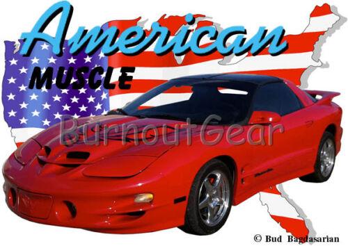 2002 Red Pontiac Trans AM Custom Hot Rod USA T-Shirt 02 Muscle Car Tees