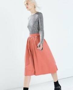 Zara-Woman-A-Line-Midi-Skirt-Pockets-Modest-Dusty-Red-Rose-Pink-Size-Small