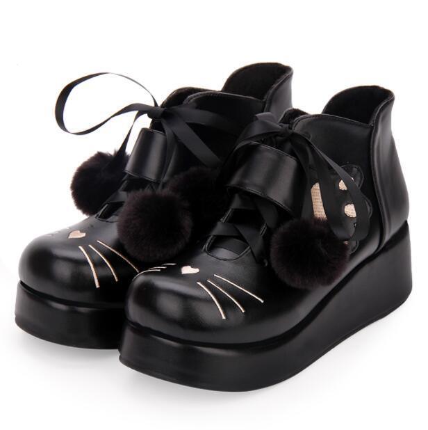 donna  Wedge Heels scarpe Sweet Pompon Lolita Lace up Fur foing Ankle stivali Dimensione  promozioni di squadra