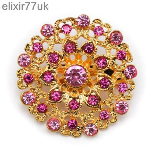 New Gold ramo De Flores Broche Rosa Diamante Cristal Boda Fiesta Nupcial abordar