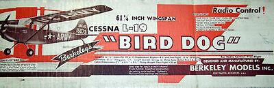 "Vervoering Berkeley/fox L-19 Bird Dog Plan + Scale Data For 61"" Span Rc Model Airplane"
