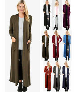Women-039-s-Full-Length-Maxi-Cardigan-Duster-Open-Front-Sweater-Long-Sleeve-Solids