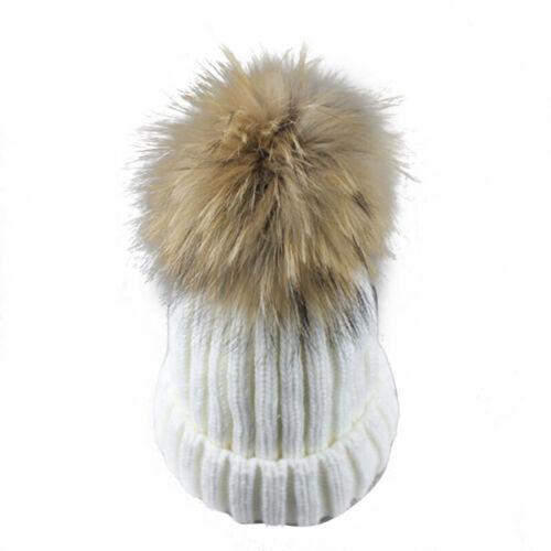 Kids Baby Boy Or Girl Cute Winter Warm Fur Pom Bobble Knit Beanie Hat Cap New