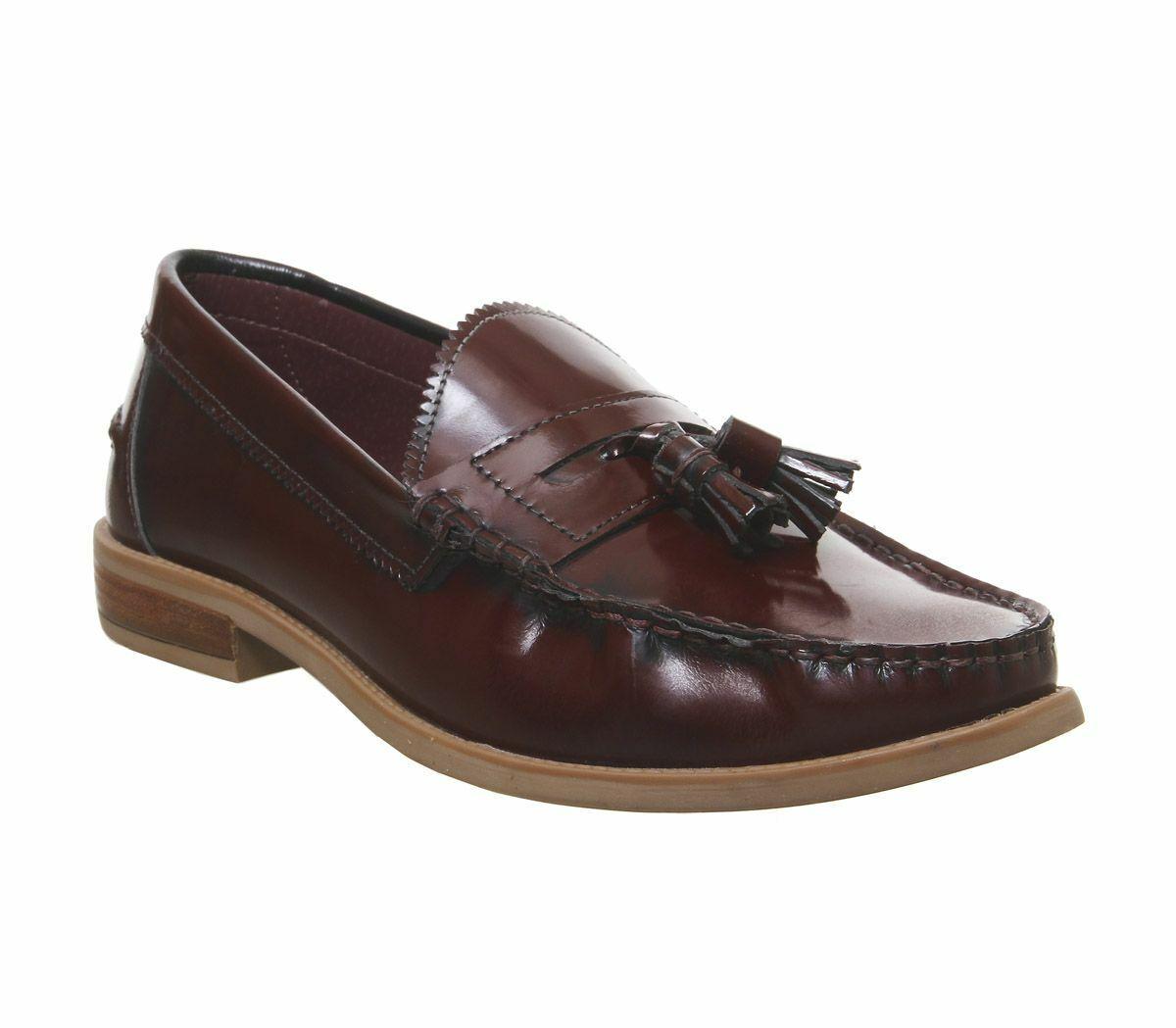 Mens Office Liho Tassel Loafers Bordo Hi Shine Leather Formal schuhe
