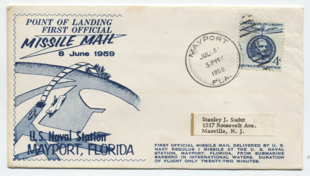 1959 missile mail cover Mayport FL us naval station cachet [y3836]