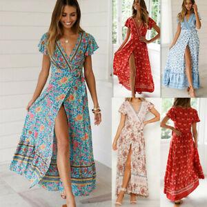 f8f33885e Détails sur Floral Summer Party soirée Beach Boho v-cou robe longue robe  d'été femmes sexy