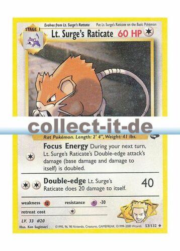 Unlimitiert 53//132 Pokemon Gym Challenge Surge/'s Raticate  Englisch Lt