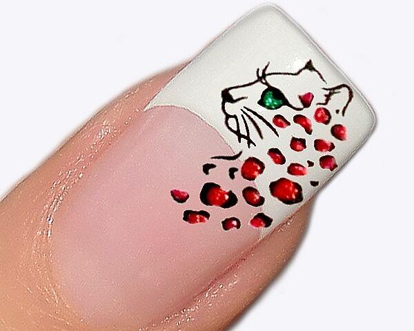 Aufkleber für Nageldesign Glitter Nailart Tattoo Sticker Leopard Motiv BLE1011d
