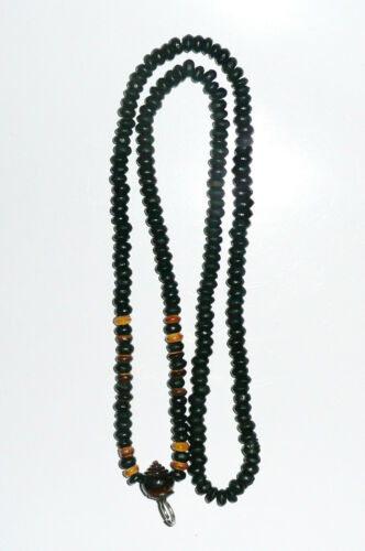Thai Antique Necklace Black//Brown Wooden Bead Buddha Buddhist Amulet for Pendant