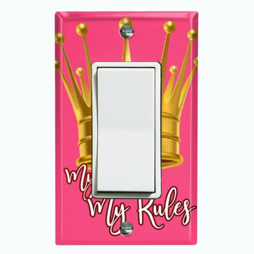 Metal Light Switch Cover Wall Plate Queen Crown My Room My Rules Pink KIN005