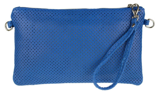 Italian Genuine Leather Perforated Laser Cut Clutch Bag Wristlet Evening Pouch