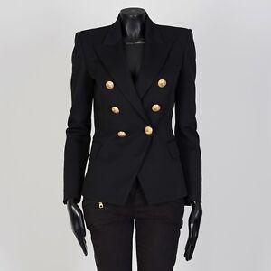 BALMAIN-2195-Double-Breasted-Blazer-In-Black-Wool-Twill