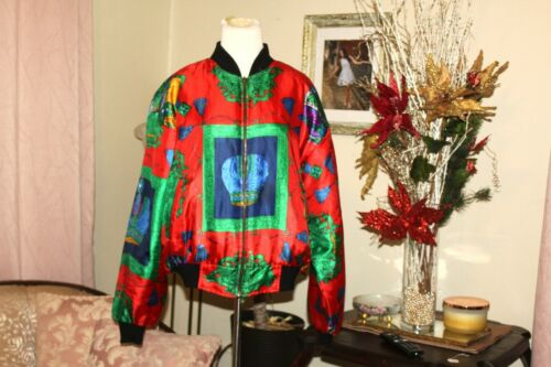 VINTAGE 1980's RED GREEN HOLIDAY SILK PUFF SLEEVE… - image 1