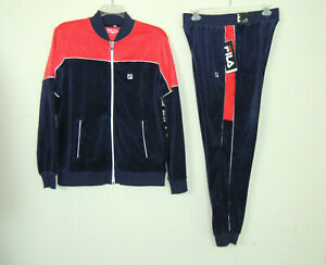 Details about New Fila Men's Training Gym Velour Tracksuit Jacket Pants Set NY Blue SZ Medium