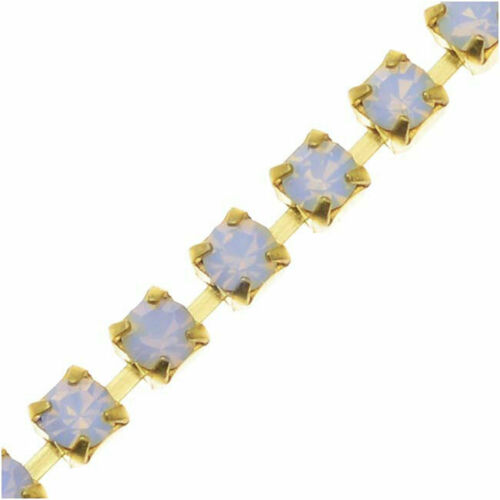 White Opal//Brass Czech Crystal Rhinestone Cup Chain by the Foot 18PP