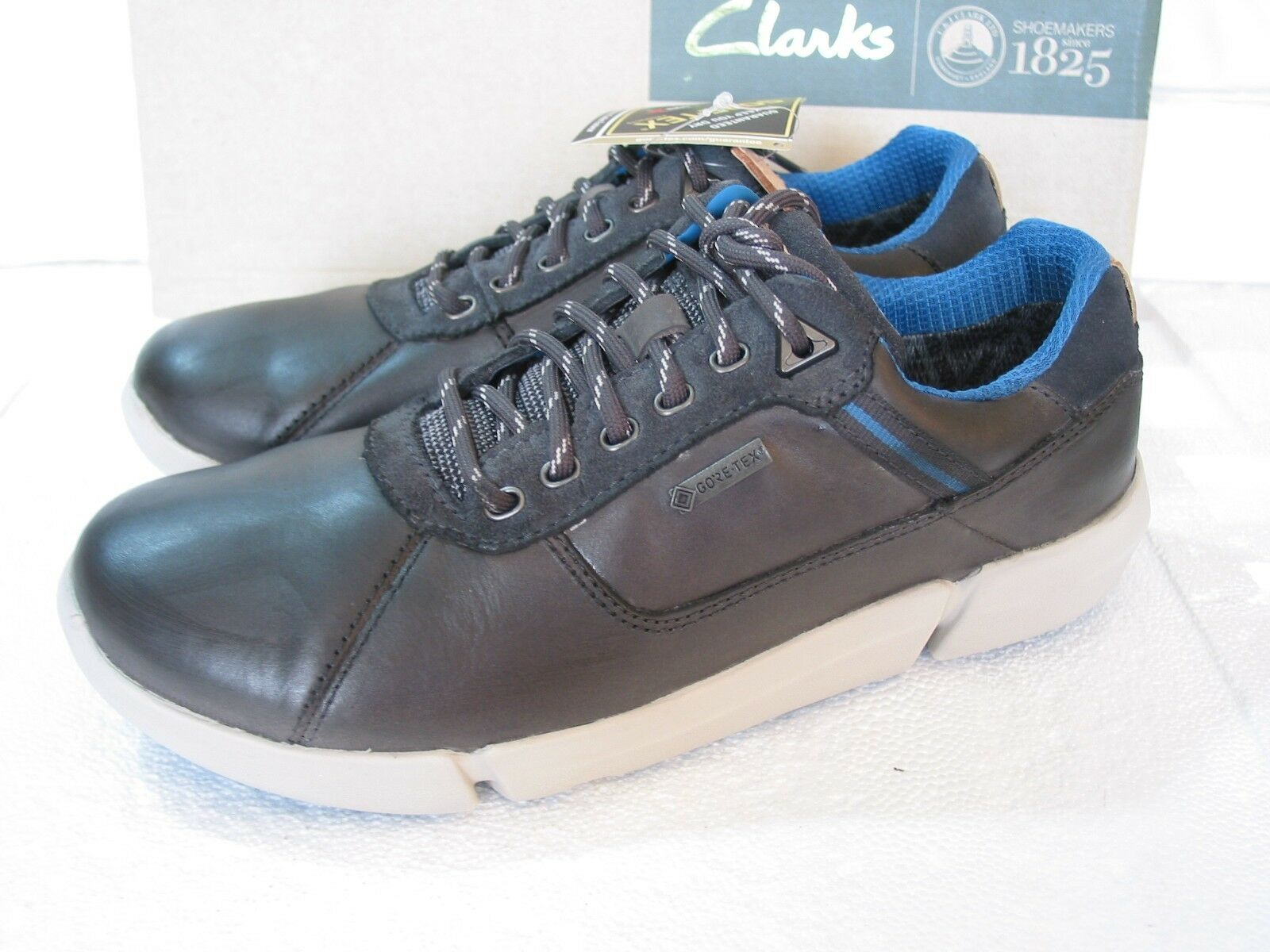 NEW CLARKS TRIGENIC TRIMAN LO GORETEX GREY LEATHER TRAINERS SHOES SIZE 7 G FIT