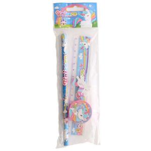 Unicorn-4-Piece-Stationery-Set-Pencil-Sharpener-Ruler-amp-Eraser-Christmas-Gift