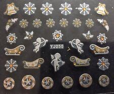 Accessoire ongles : nail art , Stickers noël : Angelot et traineau blanc et doré