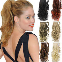 """22"""" Clip In Wavy Ponytail Pony Tail Hair Extensions Wrap On Hair Piece 33 Colors"""