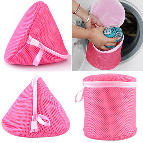 FT- Underwear Aid Bra Laundry Mesh Wash Basket Net Washing Storage Zipper Bag Ne