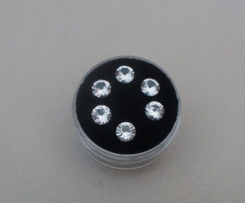 Topacio Blanco redonda suelta Facetado Natural Gemas 5 Mm cada lote de 6 piezas de parcela