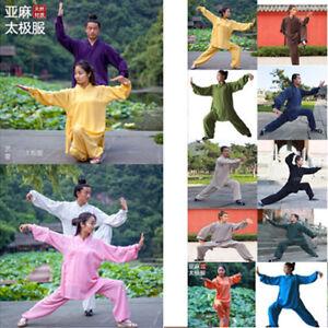 34142fe46 Image is loading Chinese-Style-Kungfu-Taichi-Training-Clothes-Flax-Long-