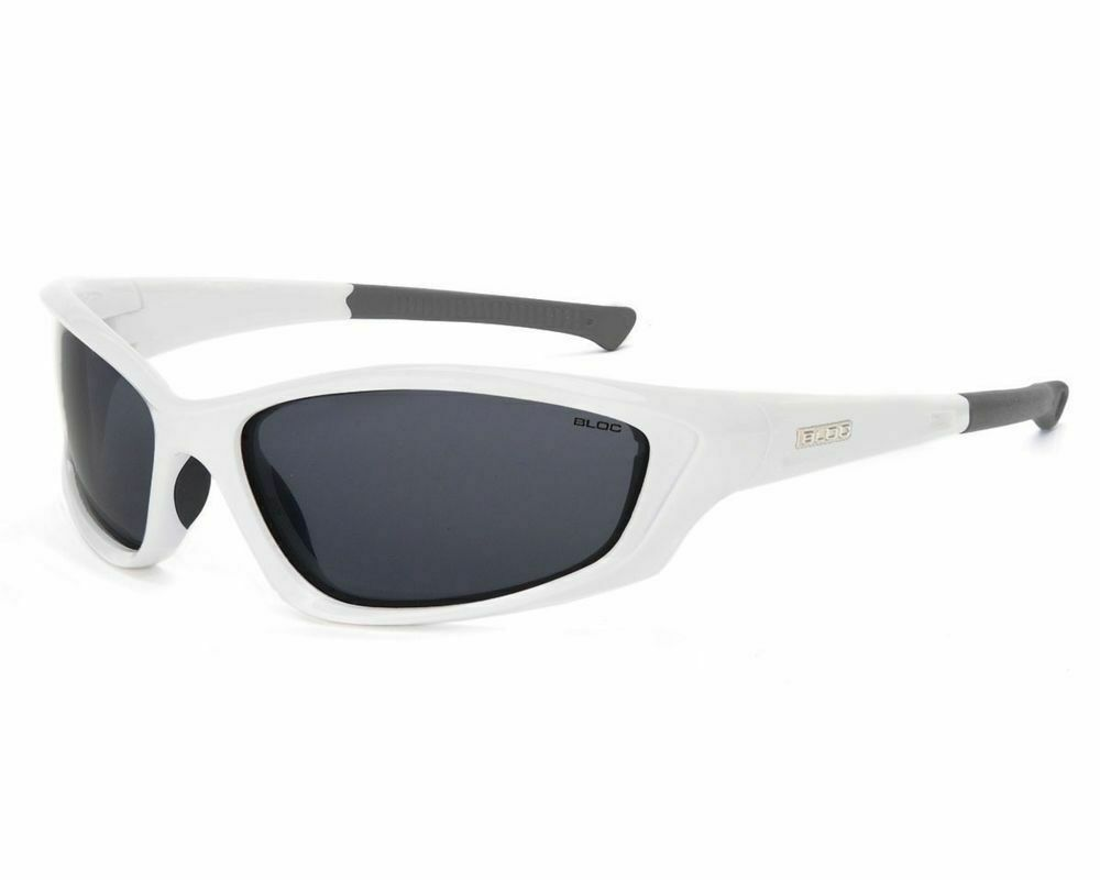 BLOC BLOWFISH UNISEX WRAP SUNGLASSES SPORTS CYCLING WHITE FRAME GREY CAT 3