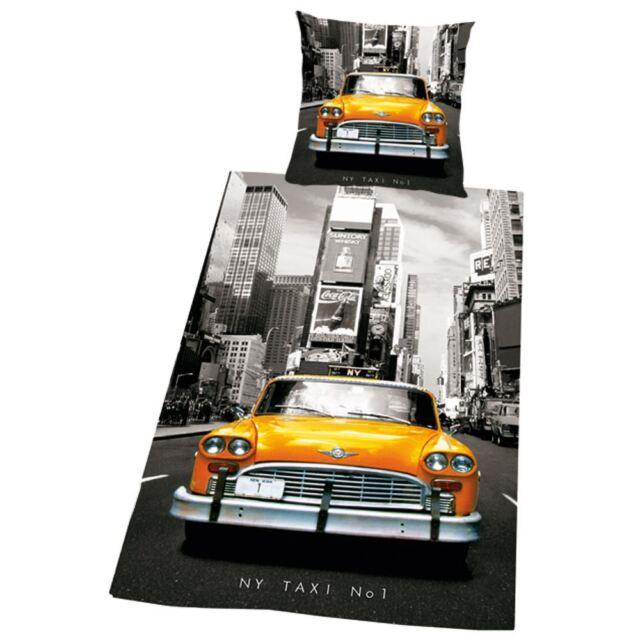 New York City Taxi Taxi einzeln Bettbezug & Kissenbezug Set grau gelb Bettwäsche