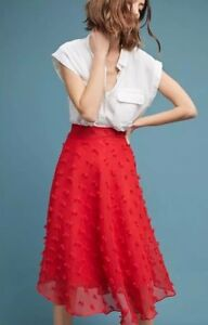 NWT-ANTHROPOLOGIE-STYLEKEEPERS-MARLOW-TEXTURED-SKIRT-Red-Size-L