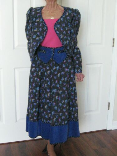 Vintage Colorful Jeanne Marc Skirt Set