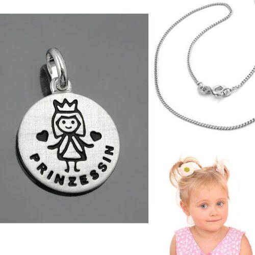 Baby Mädchen Kinder Prinzessin Anhänger mit Namen Gravur Kette Echt Silber 925
