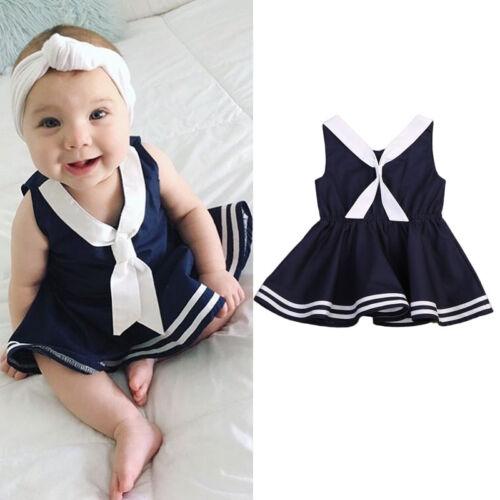 UK Toddler Baby Kids Girls Summer Dress Sleeveless Sailor Costume Tutu Dresses