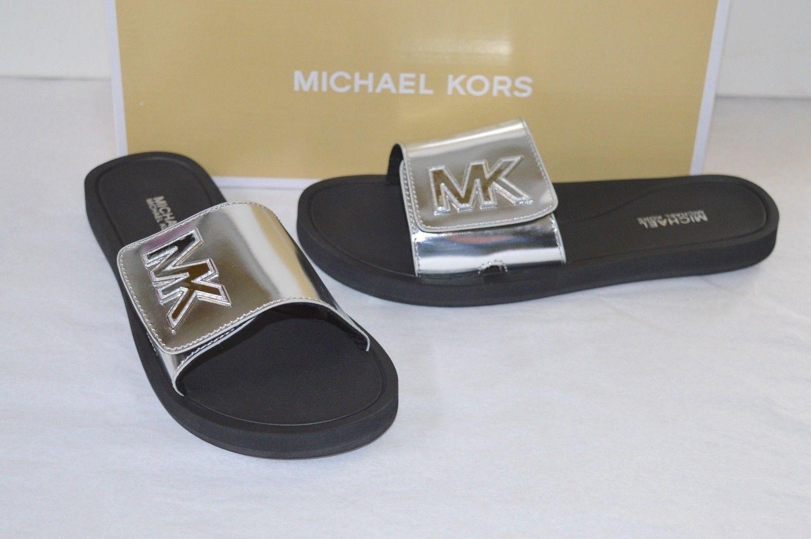 dba63d974614 Michael Kors MK Slide Mirror Metallic Black Silver Sandal Slides Sz ...