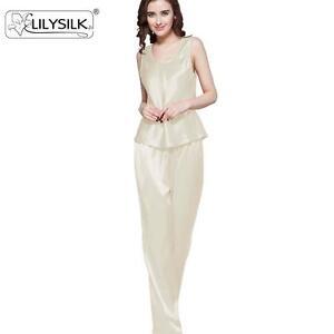 626c701340 Women Silk Pajamas Set 22mm 100% Pure Mulberry Long Silk Camisole ...