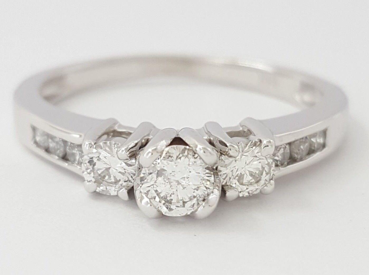 0.44 ct 14k White gold Three Stone Round Brilliant Cut Diamond Engagement Ring
