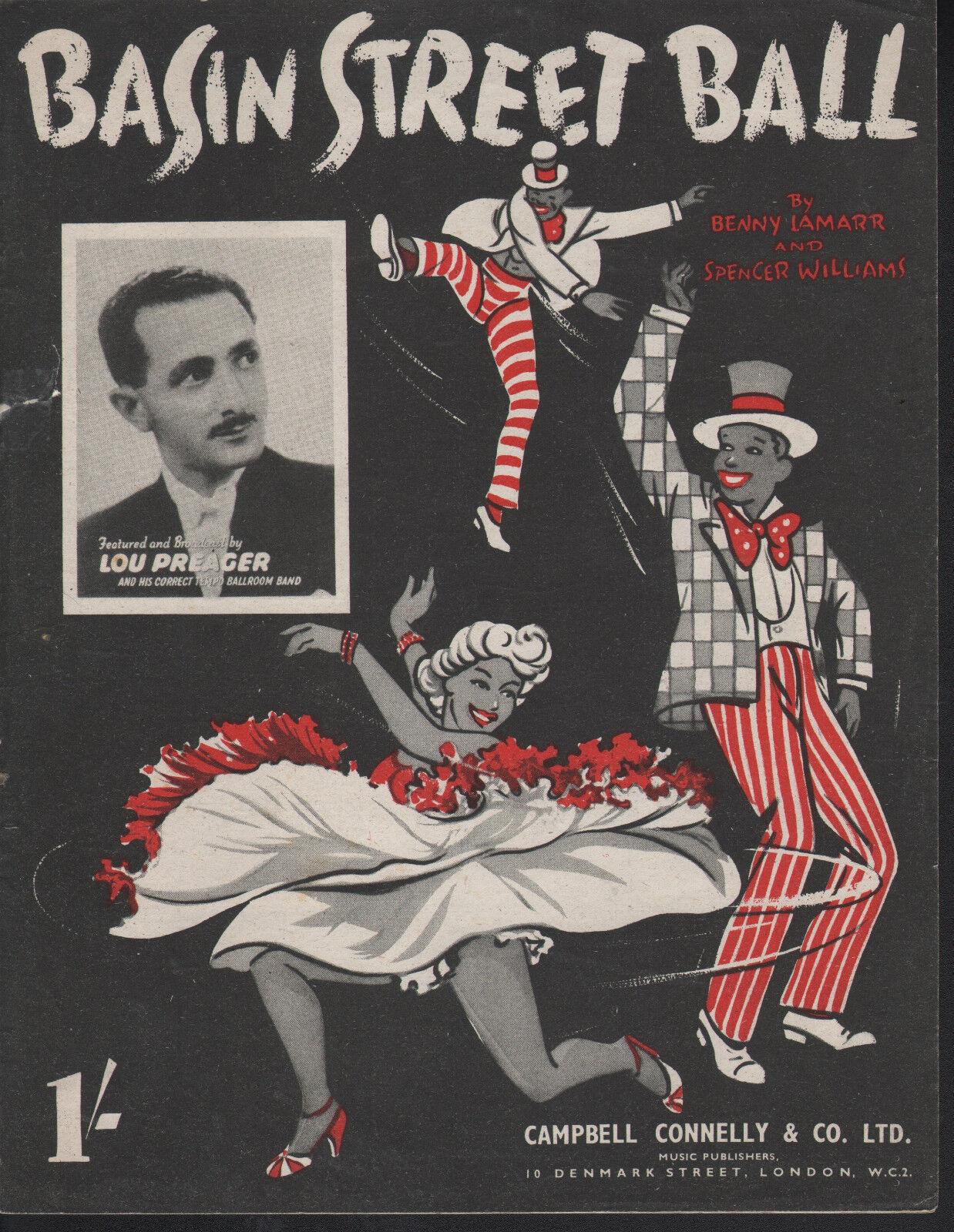 Basin Street Ball 1942 Spencer Williams Br Pub Sheet Music