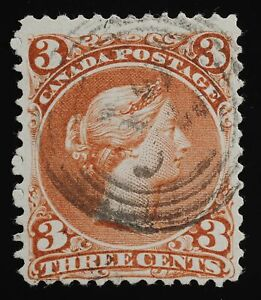 Large Queen 3 cents 25iii SOFT WHITE PAPER 4 ring 52 cancel fine, sound  fresh