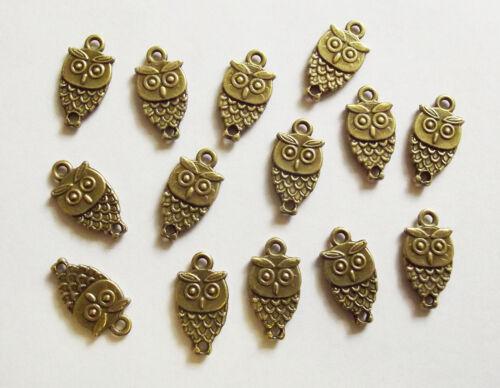15 Metal Light Antique Bronze Owl Charms 18mm