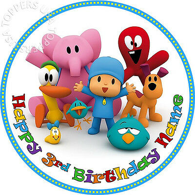 Groovy Edible Pocoyo Birthday Party Cake Topper Wafer Paper Round 7 5 Funny Birthday Cards Online Elaedamsfinfo