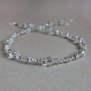 Vintage-clear-crystals-silver-beaded-collar-choker-wedding-bridesmaid-necklace