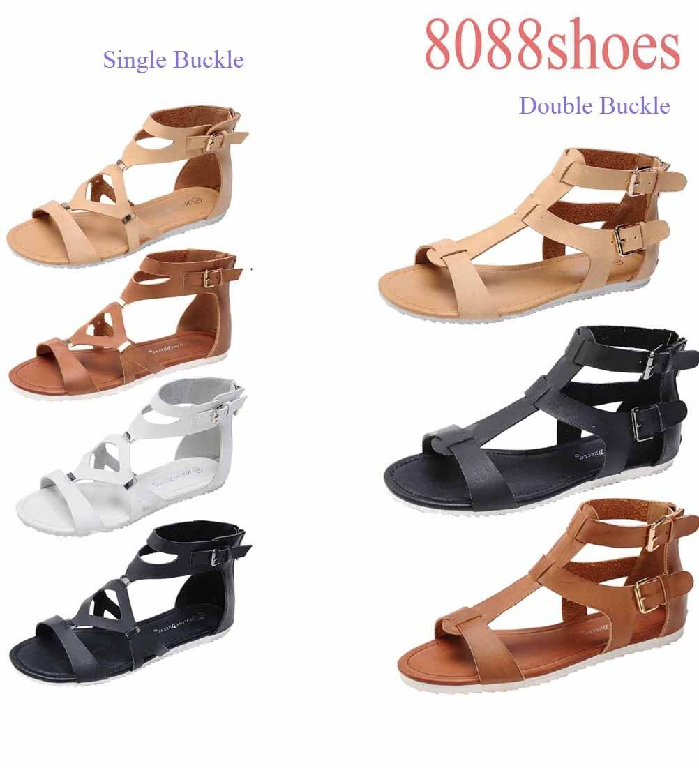 Women's Becah Strappy Buckle Zipper Shoes Open Toe Flat Sandal Shoes Zipper Size 5.5 - 10 NEW 99678c