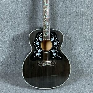Handmade-43-J200-Solid-Top-Electric-Acoustic-Guitar-Flamed-Maple-Back-amp-side