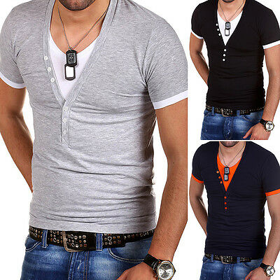 G.B.D. T-Shirt Deep V-Neck Poloshirt Party Clubwear Schwarz/Grau/Weiß/Blau NEU