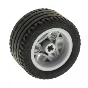 1-x-Lego-Technic-Rad-Reifen-schwarz-43-2x22-ZR-Technik-Felge-neu-hell-grau-30-4m