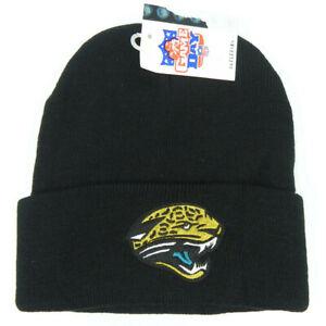 JACKSONVILLE-JAGUARS-NFL-VINTAGE-BLACK-KNIT-REEBOK-CUFFED-BEANIE-CAP-HAT-NEW
