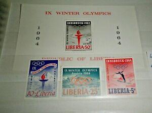 FRANCOBOLLI-LIBERIA-1964-034-OLYMPICS-INNSBRUCK-034-MNH-SET-BLOCK-CAT-10
