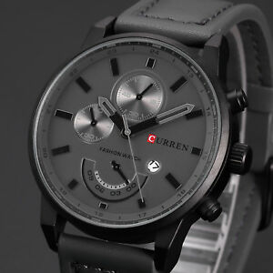 Curren-Gift-Men-039-s-Leather-Band-Sports-Date-Analog-Alloy-Military-Quartz-Watch