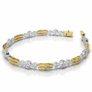 14k-White-Yellow-Gold-Over-Round-Diamond-Three-Across-Double-Bar-Link-7-034-Bracelet