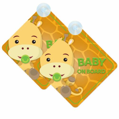 Bebé a bordo de coches Signos 2 un. para niño//niña Twin Pack De diseño jirafa bebé